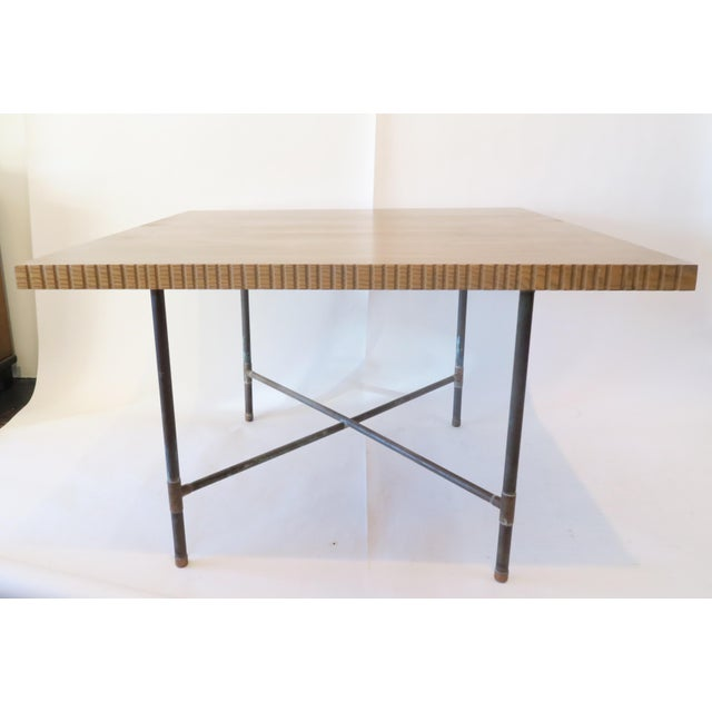 Pipe Table With Chisled Edge Wood Top - Image 2 of 6