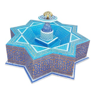 Round Turquoise Moroccan Mosaic Fountain For Sale