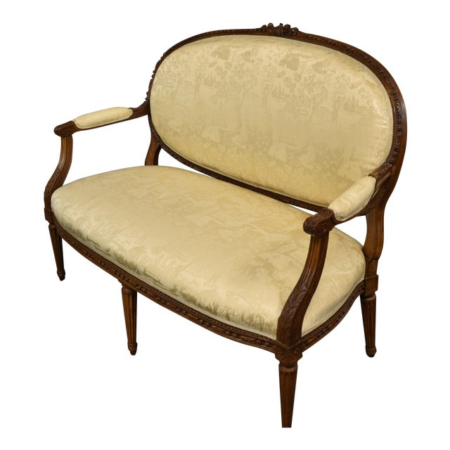 19th Century French Louis XVI Style Carved Chinoiseries Canape Settee For Sale
