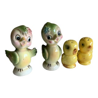 Midcentury Whimsical Ceramic Bird Salt & Pepper Sets For Sale