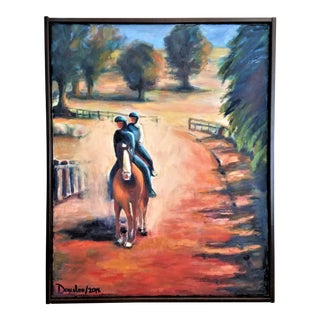 Original Impressionistic Painting Landscape Horses Equestrian California Fine Art For Sale