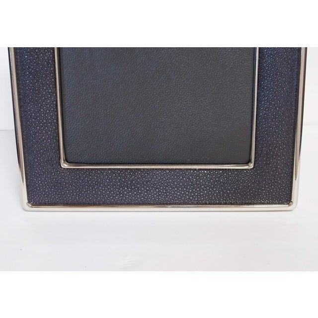 Modern Black Shagreen Nickel-Plated Photo Frame For Sale - Image 3 of 7