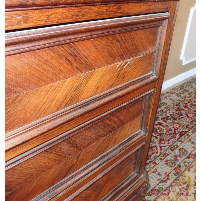 Antique Carved French Directoire Style Black Marble Top Walnut 5 Drawer Chest c1890 For Sale - Image 5 of 11