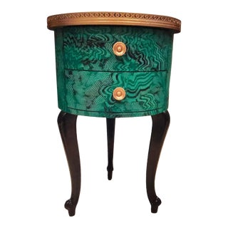 Faux Malachite Drum Shape Accent Cabinet For Sale
