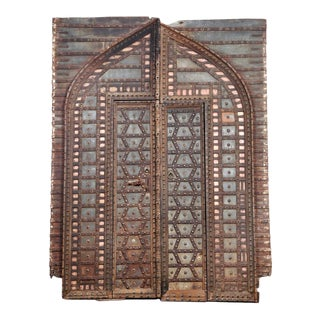 "Antique Indian Teak and Iron ""Fortress"" Door and Frame For Sale"