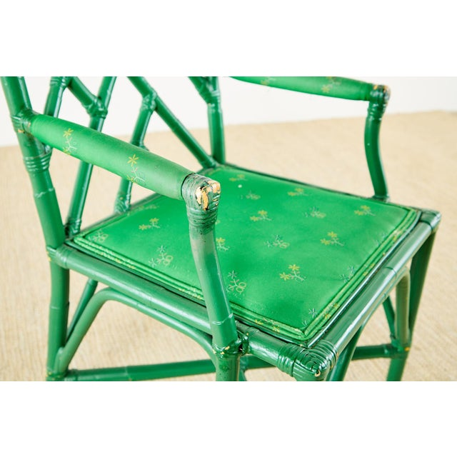 Green Baker Trompe l'Oeil Card Table With Rattan Armchairs For Sale - Image 8 of 13