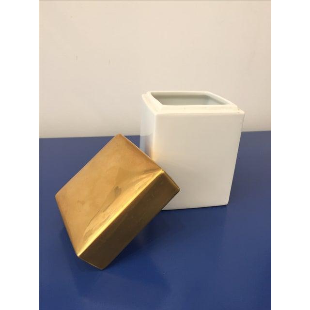 Vintage Gold & White Ceramic Jar - Image 4 of 5