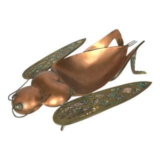Salvador Tehran Los Castillo Figural Grasshopper Copper, Brass, & Shell Bowl For Sale