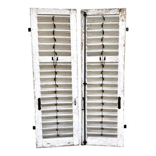 19th Century French Plantation Shutters With Iron Hardware Architectural Salvage For Sale