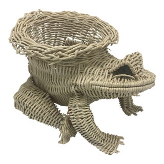 Vintage Wicker Frog Planter For Sale