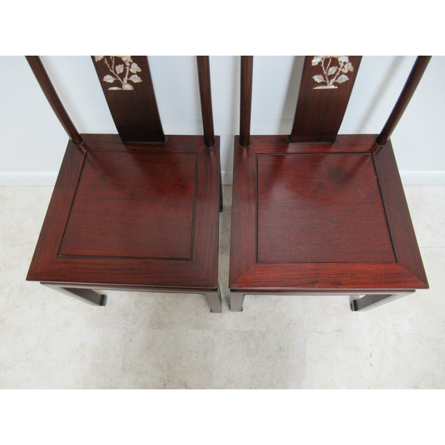 1970s Vintage Chinese Chippendale Rosewood Mother of Pearl Dining Room Chairs - A Pair For Sale - Image 4 of 12