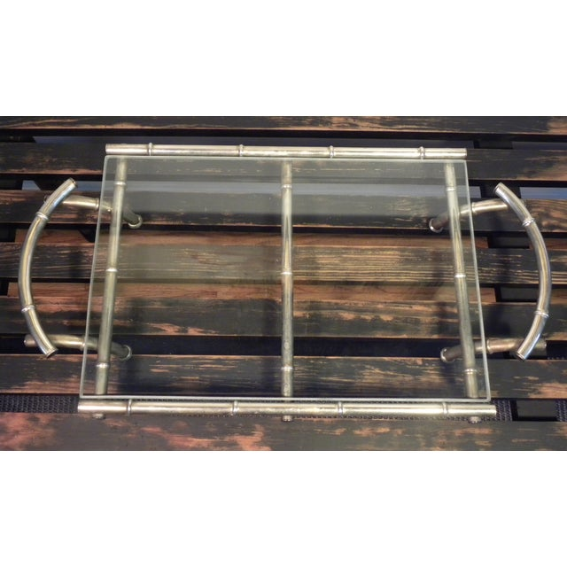 Vintage Silver & Glass Faux Bamboo Serving Tray - Image 2 of 5