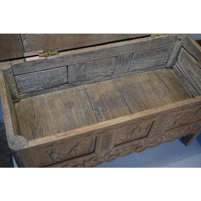 Antique Carved Oak Flemish Coffer Blanket Trunk For Sale - Image 9 of 12