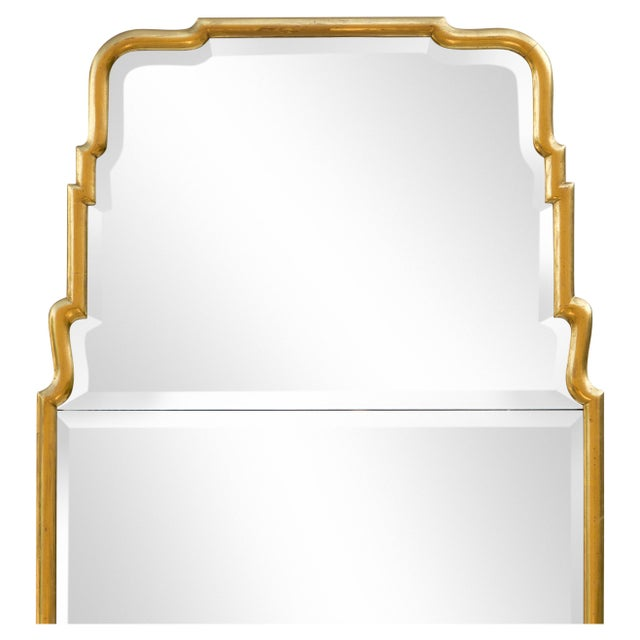 """Large Queen Anne-style arched giltwood divided plate mirror with bevel, circa 1950s. The rounded .75"""" gilded frame shows..."""