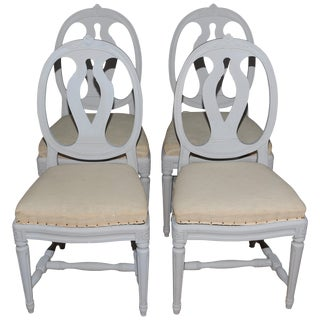 Swedish Gustavian Style Painted Dining Chairs- Set of 4 For Sale