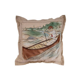 Vintage Lady in Canoe Pillow For Sale