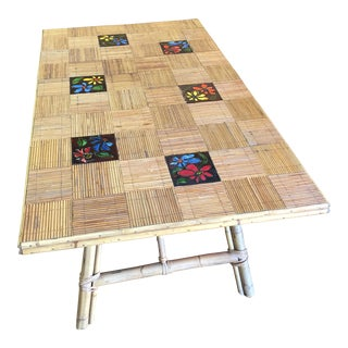 Mid-Century French Bamboo Colorful Tile Inlay Dining Table For Sale