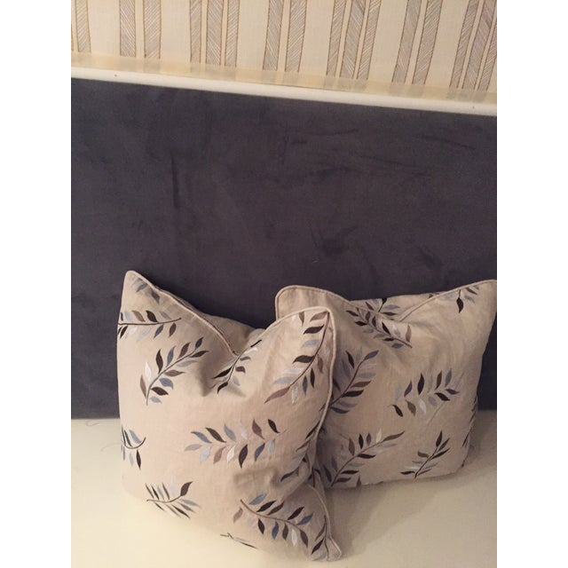 Fabric Autumn Leaves Print Pillows - A Pair For Sale - Image 7 of 7