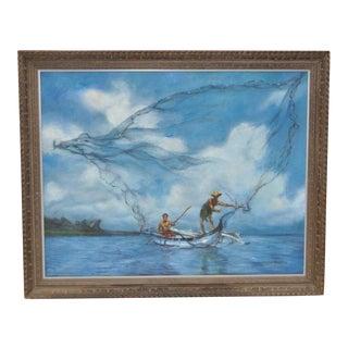 "Vintage Oil Painting ""Micronesian Fishermen"" C.1969"