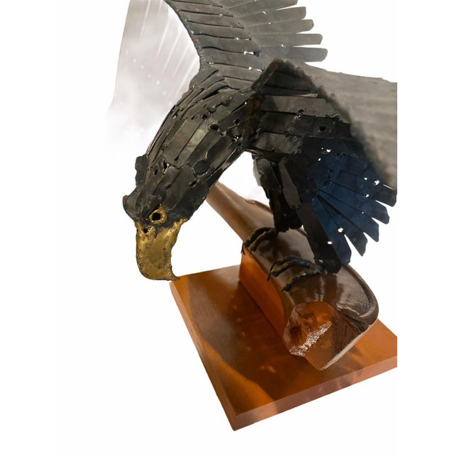 Vintage Artisan Mid-Century Welded Metal Sculpture Flying Eagle For Sale - Image 4 of 9