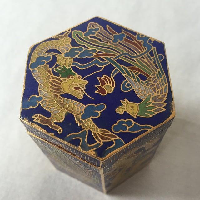 Vintage Cloisonné Hexagon Box - Image 4 of 5