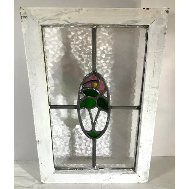 Vintage Mid Century Stained Glass Window For Sale - Image 9 of 9