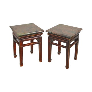Asian Antique Pair of Chinese Hardwood Low Stands W/ Marble Granite Tops For Sale