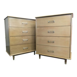 Mid-Century Blonde Mahogany Chests - a Pair