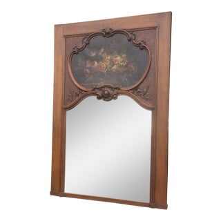 Vintage Trumeau Mirror With Antique Still Life Oil Painting For Sale