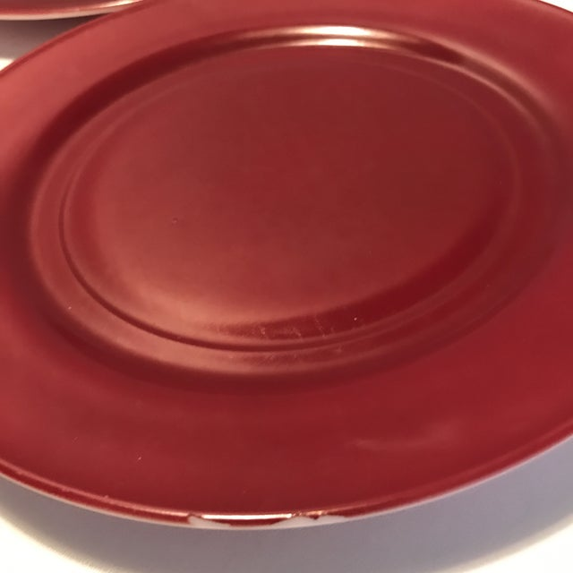 1930s 1930s Milk Glass Maroon Red Dinner Plates - Set of 4 For Sale - Image 5 of 8