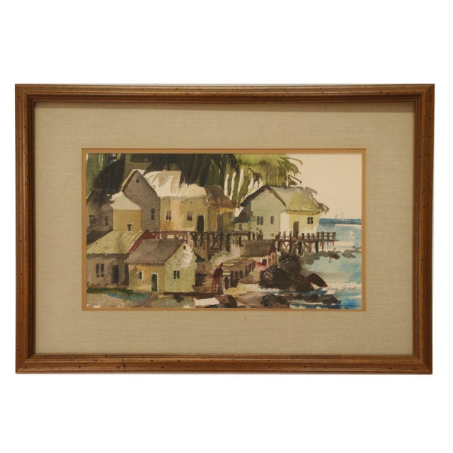 Original Bruce Spicer Vintage Coastal Watercolor Painting - Image 2 of 9