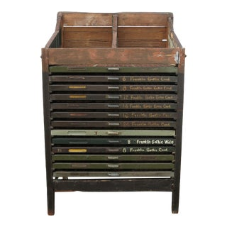 Antique Letterpress Type Distressed Printers Cabinet For Sale