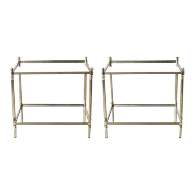 Pair of Brass Tables with Mirror Tops C. 1950 For Sale
