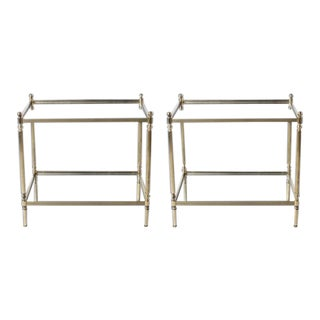 Pair of Brass Tables With Mirror Tops in the Style of Maison Jansen, C. 1950