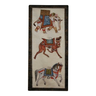 Mughal Miniature Horse Camel Elephant Painting For Sale