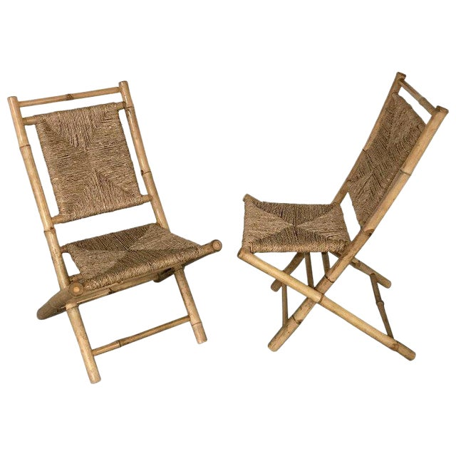 Pair of Faux Bamboo Campaign Chairs in the Manner of Maison Jansen For Sale
