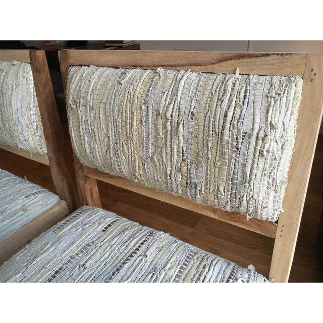 Calypso St. Barth Sandstone Woven Leather Stools - A Pair - Image 7 of 8