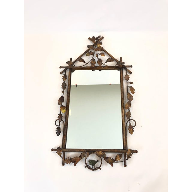 Gilt Metal Faux Bois Mirror With Leaves and Bird For Sale - Image 12 of 12