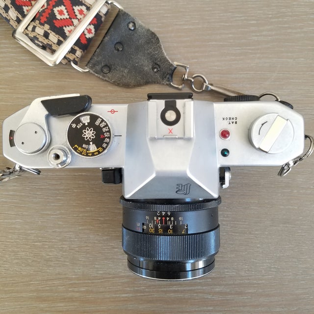 Pop Art Vintage Yashica Camera with Strap For Sale - Image 3 of 9