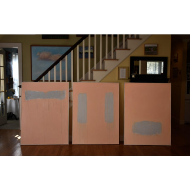 """Stephen Remick """"Peachy"""" Large Contemporary Abstract Triptych Painting by Stephen Remick For Sale - Image 4 of 12"""