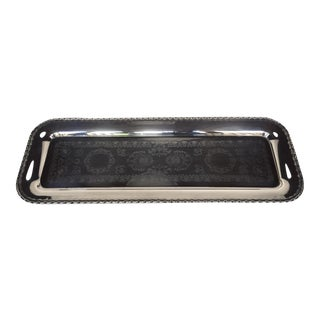 Swedish Etched Silver Plated Tray For Sale