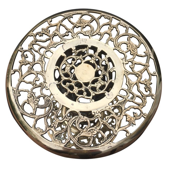 Ornate Filagree Solid Brass Round Side Table - Image 1 of 11