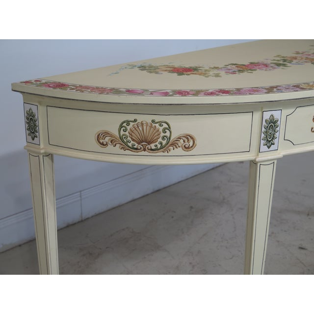 Paint Adam Style Paint Decorated Demi-lune Console Table For Sale - Image 7 of 11
