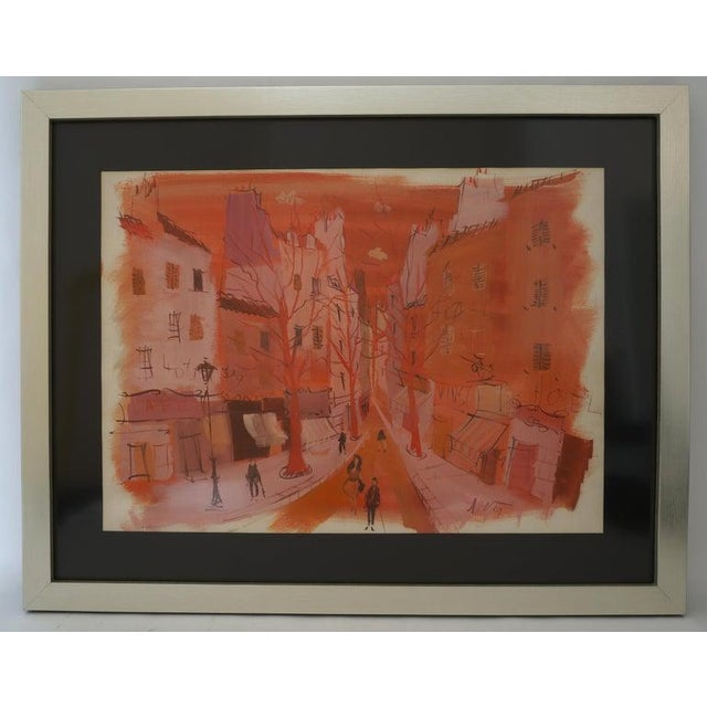 """Mid-Century Modern Levier """"Street Scene"""" Gouache and Watercolor Painting Signed in the Painting For Sale - Image 11 of 11"""