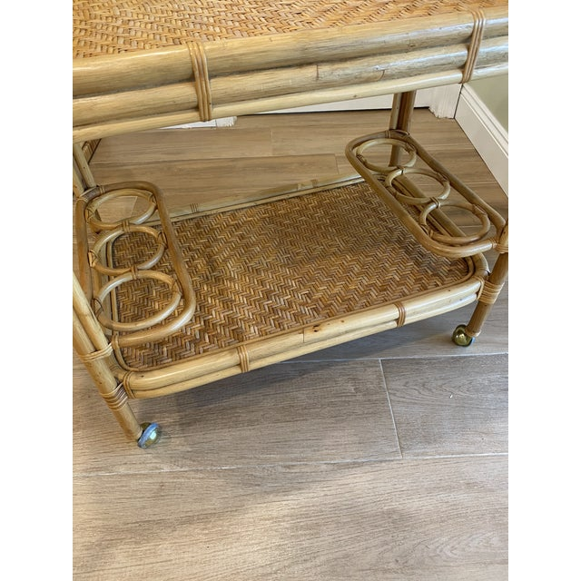 Hollywood Regency Vintage 1970s Boho Chic Bamboo Rattan Bar Cart For Sale - Image 3 of 10