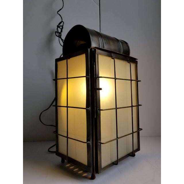 American Colonial Style Brass Lantern Lamp For Sale - Image 9 of 12