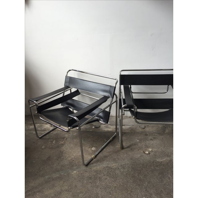 Wassily Style Chrome & Black Leather Chairs - Pair - Image 9 of 11