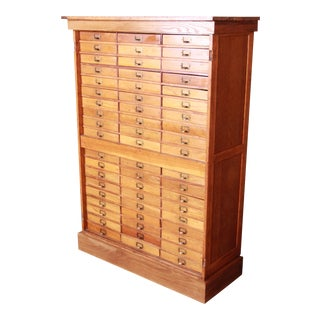 Antique Oak 57-Drawer Cabinet, Circa 1920s For Sale