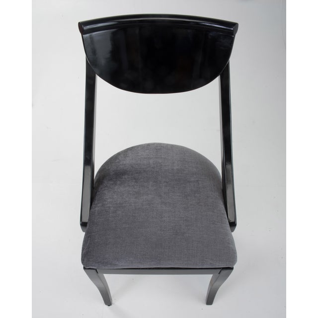 Klismos Dining Chairs Pietro Constantini Ello Black Lacquer Unmarked 1970s a Set of Six For Sale - Image 9 of 13