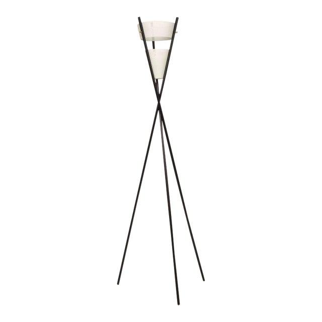 Mid Century Modern Black Tripod Floor Lamp After McCobb For Sale